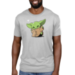 Happy Dance Men's t-shirt model officially licensed light gray Star Wars t-shirt featuring The Child from the Mandalorian doing a dance with a heart in the corner of the design