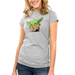 Happy Dance Junior's t-shirt model officially licensed light gray Star Wars t-shirt featuring The Child from the Mandalorian doing a dance with a heart in the corner of the design