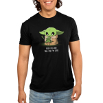 Feed Me and Tell Me I'm Cute Men's t-shirt model officially licensed black Star Wars t-shirt featuring The Child from The Mandalorian holding a little frog