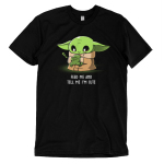 Feed Me and Tell Me I'm Cute t-shirt officially licensed black Star Wars t-shirt featuring The Child from The Mandalorian holding a little frog
