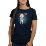 I Love You (Episode V) Women's t-shirt model officially licensed navy Star Wars t-shirt featuring Princess Leia