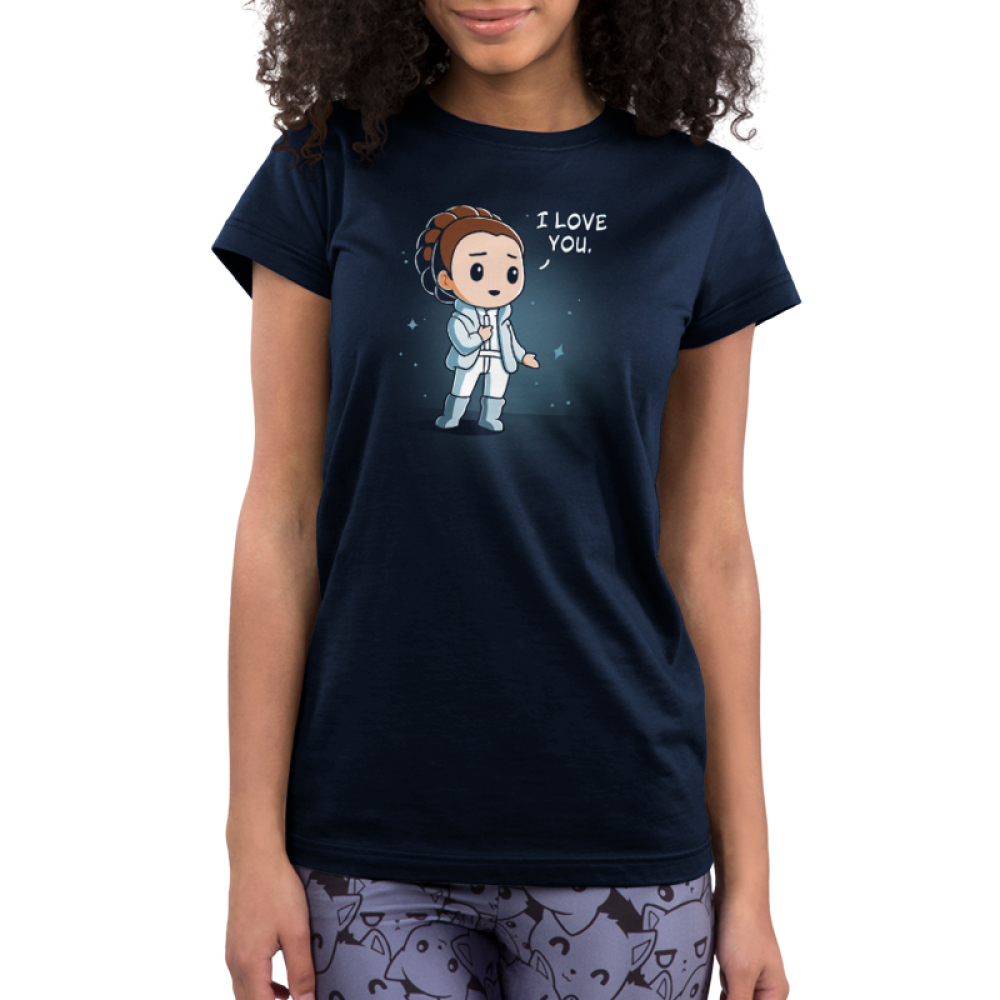 I Love You (Episode V) Junior's t-shirt model officially licensed navy Star Wars t-shirt featuring Princess Leia
