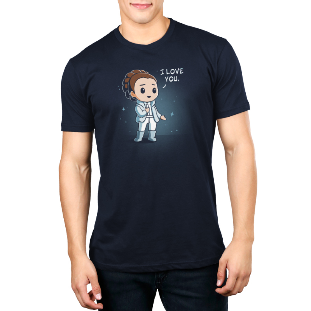 I Love You (Episode V) Men's t-shirt model officially licensed navy Star Wars t-shirt featuring Princess Leia