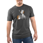 Tauntaun Meets Porg Men's t-shirt model officially licensed charcoal Star Wars t-shirt featuring porg yelling with his arms up in front of Tauntaun who looks confused
