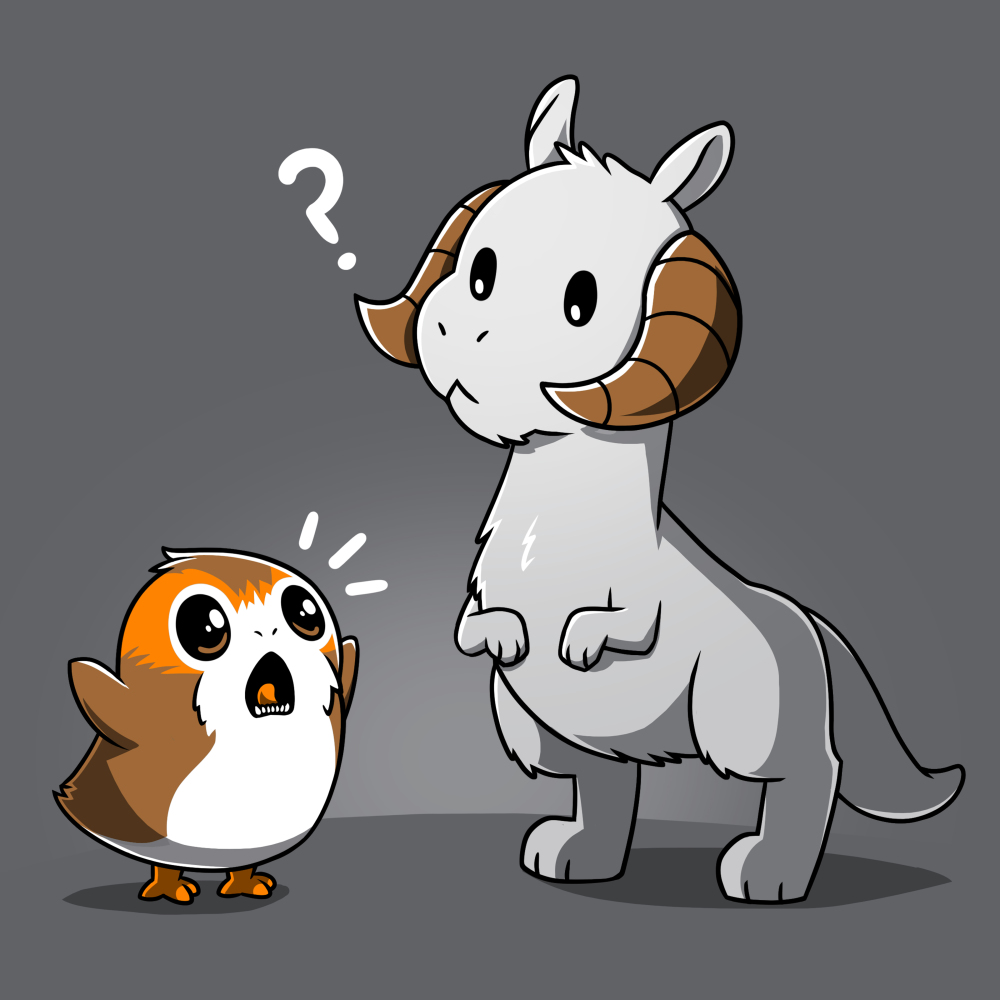 Tauntaun Meets Porg t-shirt officially licensed charcoal Star Wars t-shirt featuring porg yelling with his arms up in front of Tauntaun who looks confused