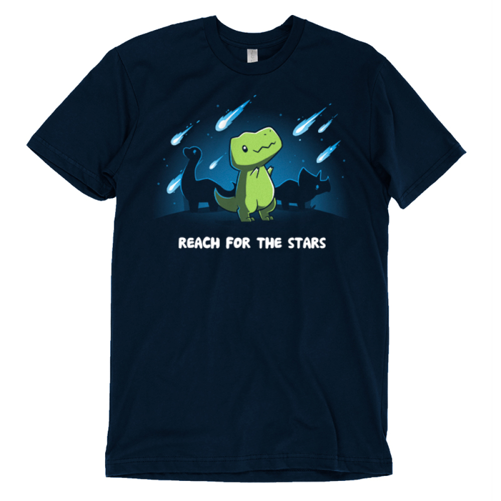 Reach for the Stars t-shirt TeeTurtle navy t-shirt featuring a green t-rex reaching for meteors falling in the sky with two dinosaurs behind him