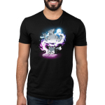 Moonlight Tale Men's t-shirt model TeeTurtle black t-shirt featuring a fox reading a book with a big spiral of light behind him with a big wolf and a full moon
