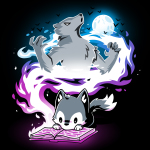 Moonlight Tale t-shirt TeeTurtle black t-shirt featuring a fox reading a book with a big spiral of light behind him with a big wolf and a full moon