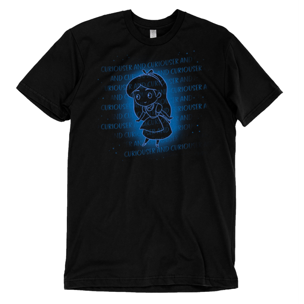 Curiouser and Curiouser t-shirt officially licensed black Disney t-shirt featuring Alice from Alice in Wonderland