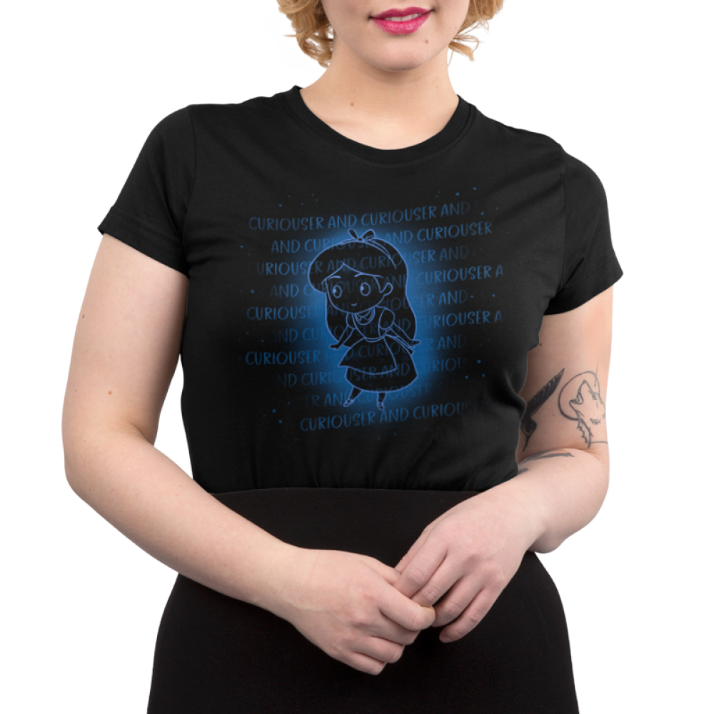 Curiouser and Curiouser Junior's t-shirt model officially licensed black Disney t-shirt featuring Alice from Alice in Wonderland