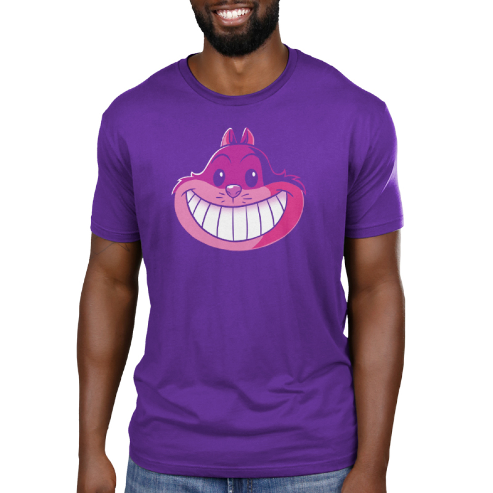 Cheshire Cat Men's t-shirt model officially licensed purple Disney t-shirt featuring the Cheshire Cat from Alice in Wonderland