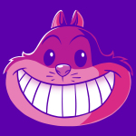 Cheshire Cat t-shirt officially licensed purple Disney t-shirt featuring the Cheshire Cat from Alice in Wonderland
