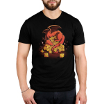 Dice Hoarder Men's t-shirt model TeeTurtle black t-shirt featuring a red sleeping dragon on top of a pile of tabletop dice