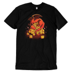 Dice Hoarder t-shirt TeeTurtle black t-shirt featuring a red sleeping dragon on top of a pile of tabletop dice