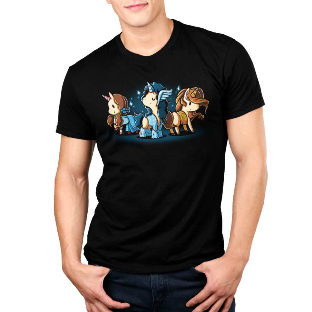 Iconic Unicorns Men's t-shirt model TeeTurtle black t-shirt featuring three dressed up unicorns with long hair and sparkles around them