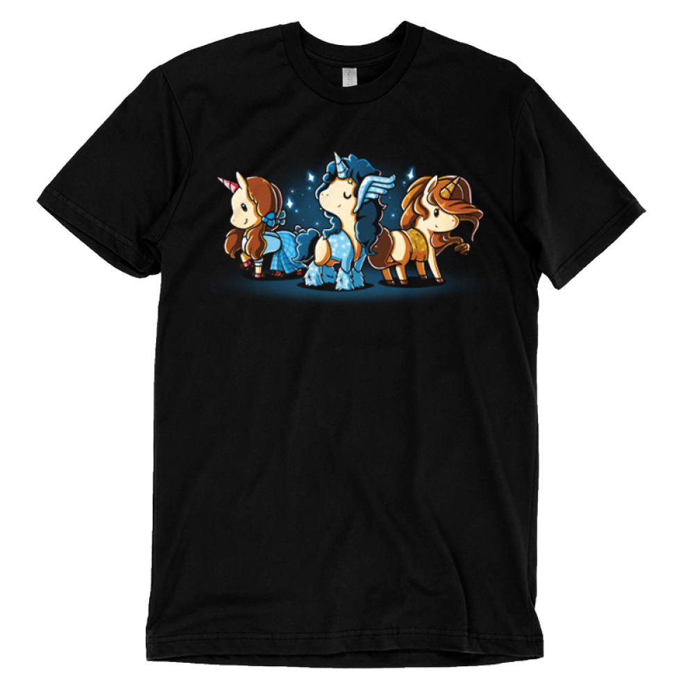 Iconic Unicorns t-shirt TeeTurtle black t-shirt featuring three dressed up unicorns with long hair and sparkles around them