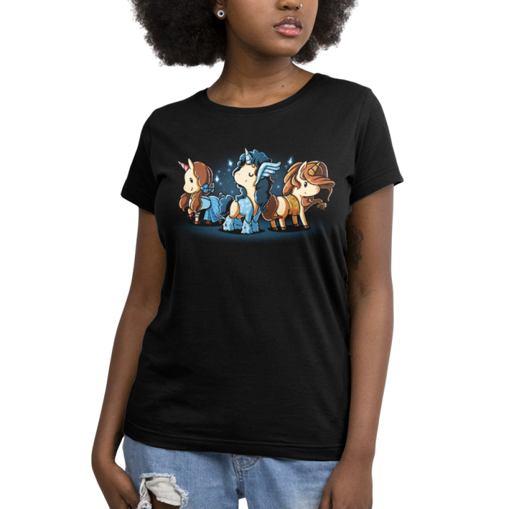 Iconic Unicorns Women's t-shirt model TeeTurtle black t-shirt featuring three dressed up unicorns with long hair and sparkles around them