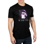 The Shade is Real Men's t-shirt model TeeTurtle black t-shirt featuring a bunny in sunglasses holding a purple umbrella