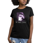 The Shade is Real Women's t-shirt model TeeTurtle black t-shirt featuring a bunny in sunglasses holding a purple umbrella
