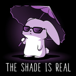 The Shade is Real t-shirt TeeTurtle black t-shirt featuring a bunny in sunglasses holding a purple umbrella