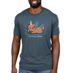 I'm Otterly Fabulous Men's t-shirt model TeeTurtle denim blue t-shirt featuring an otter laying on its side with his paw on its cheek with a unicorn horn on