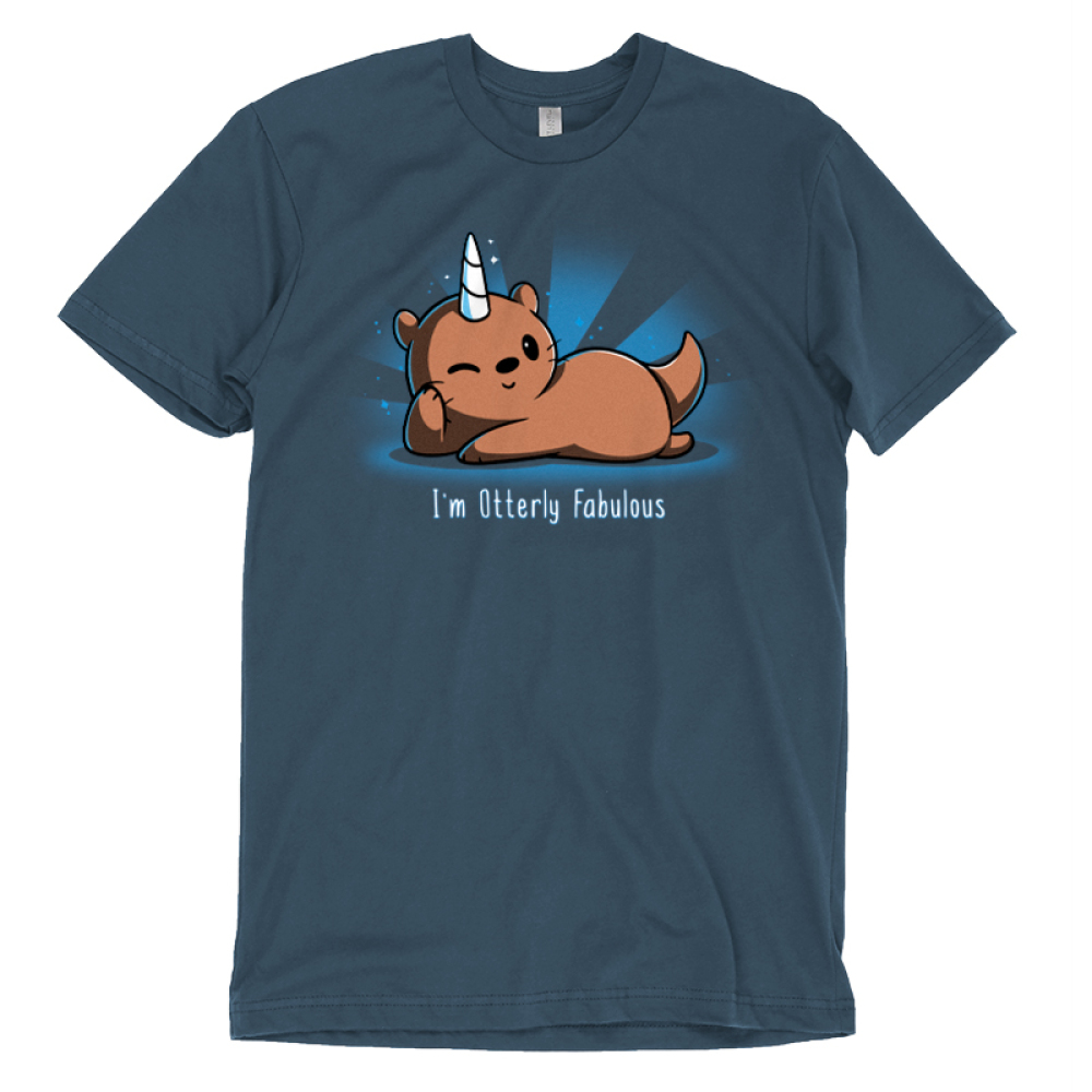 I'm Otterly Fabulous t-shirt TeeTurtle denim blue t-shirt featuring an otter laying on its side with his paw on its cheek with a unicorn horn on