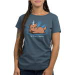 I'm Otterly Fabulous Women's t-shirt model TeeTurtle denim blue t-shirt featuring an otter laying on its side with his paw on its cheek with a unicorn horn on