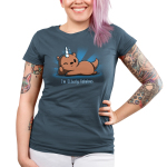 I'm Otterly Fabulous Junior's t-shirt model TeeTurtle denim blue t-shirt featuring an otter laying on its side with his paw on its cheek with a unicorn horn on