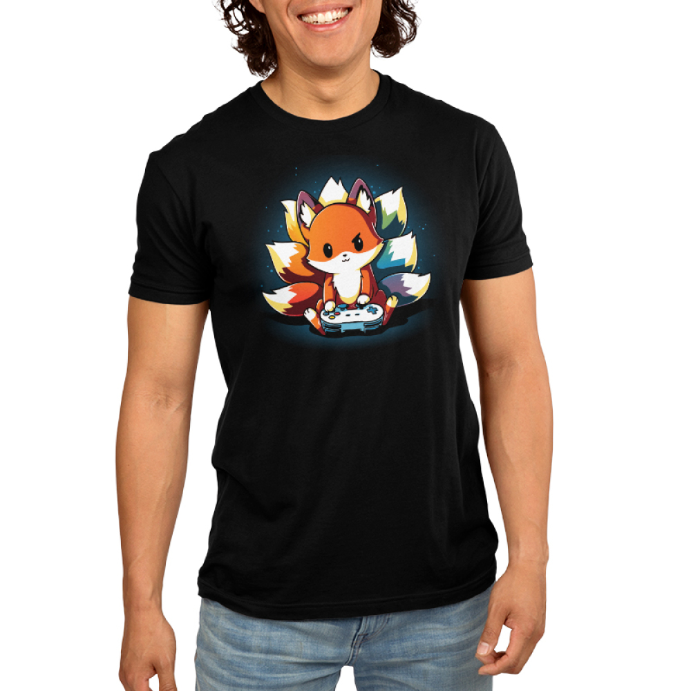 Rainbow Gamer Men's t-shirt model TeeTurtle black t-shirt featuring a kitsune with different colored tails holding a video game controller