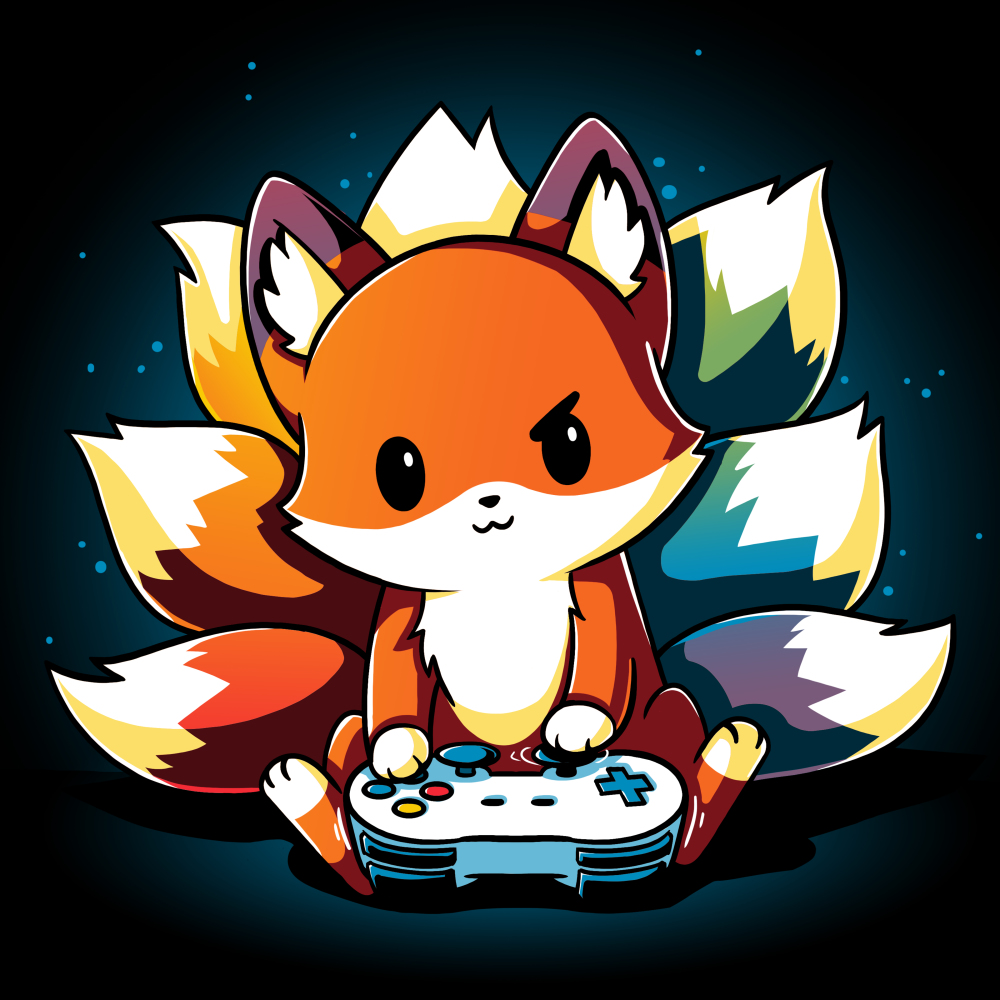 Rainbow Gamer t-shirt TeeTurtle black t-shirt featuring a kitsune with different colored tails holding a video game controller