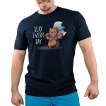 Slay Every Day Men's t-shirt model TeeTurtle navy t-shirt featuring a bear holding a big double sided axe