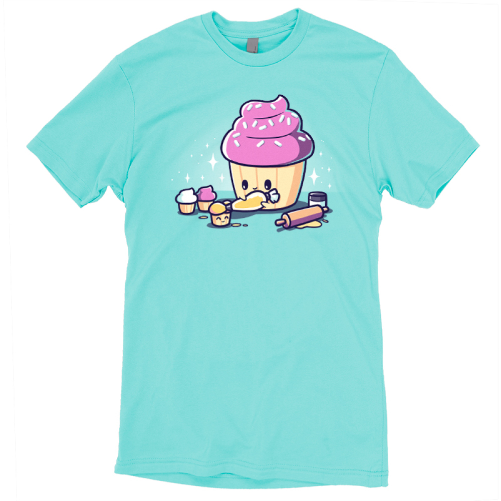 Baking Cupcakes t-shirt TeeTurtle Caribbean blue t-shirt featuring a big pink cupcakes icing a little smiling cupcakes with a rolling pin and other little cupcakes around them