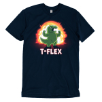 T-Flex t-shirt TeeTurtle navy t-shirt featuring an angry looking green dinosaur flexing its muscular arms with an explosion behind him