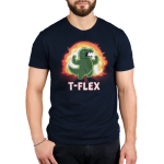 T-Flex Men's t-shirt model TeeTurtle navy t-shirt featuring an angry looking green dinosaur flexing its muscular arms with an explosion behind him