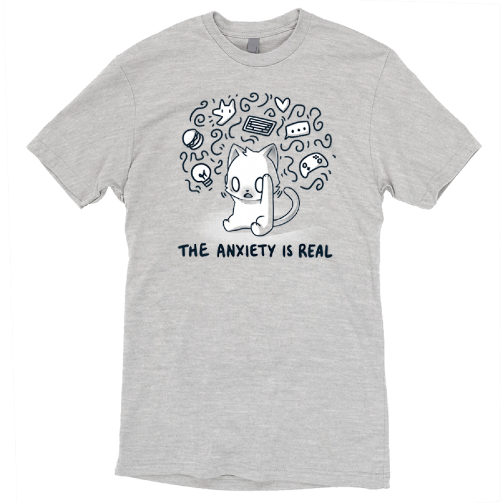 The Anxiety is Real t-shirt TeeTurtle light gray t-shirt featuring a stressed looking wide-eyed cat holding its head with squiggles and different objects surrounding its head