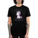 I'm a Bitter, Angry Unicorn Men's t-shirt model TeeTurtle black t-shirt featuring a purple unicorn sitting down with an angry looking expression