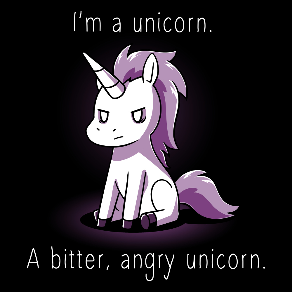 I'm a Bitter, Angry Unicorn t-shirt TeeTurtle black t-shirt featuring a purple unicorn sitting down with an angry looking expression