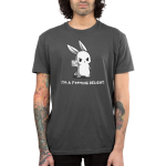I'm a F***ing Delight Men's t-shirt model TeeTurtle charcoal t-shirt featuring a bunny holding up the finger with it blurred out