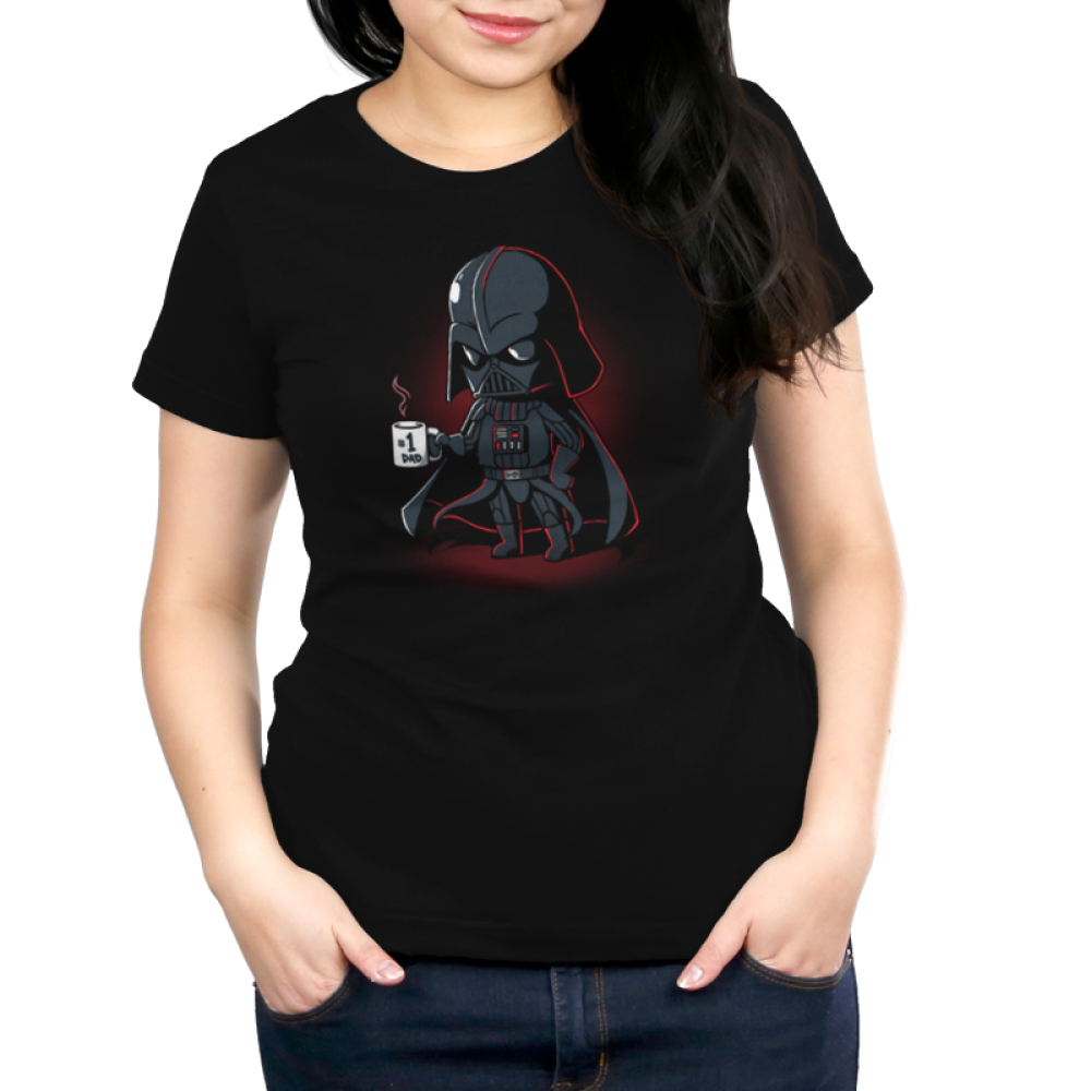 #1 Dad Women's t-shirt model officially licensed Star Wars black t-shirt featuring Darth Vader holding a coffee mug that says #1 Dad