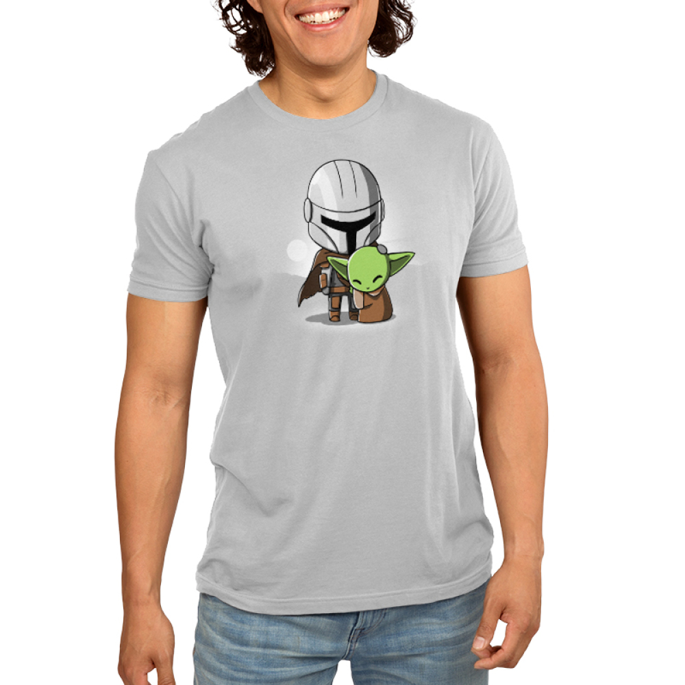 Mando and The Child Men's t-shirt model officially licensed Star Wars light gray t-shirt featuring The Child hugging Mando from The Mandalorian