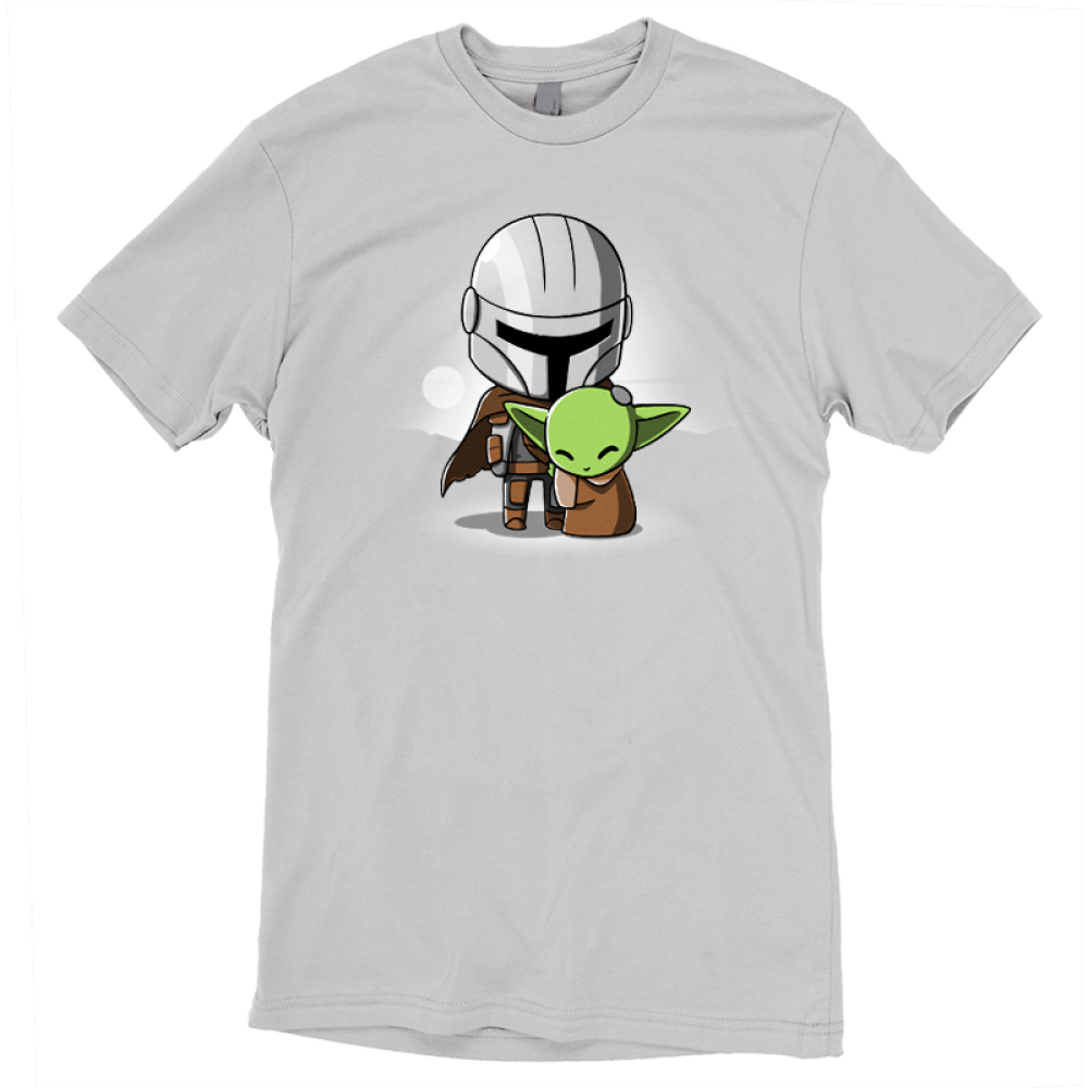 Mando and The Child officially licensed Star Wars light gray t-shirt featuring The Child hugging Mando from The Mandalorian