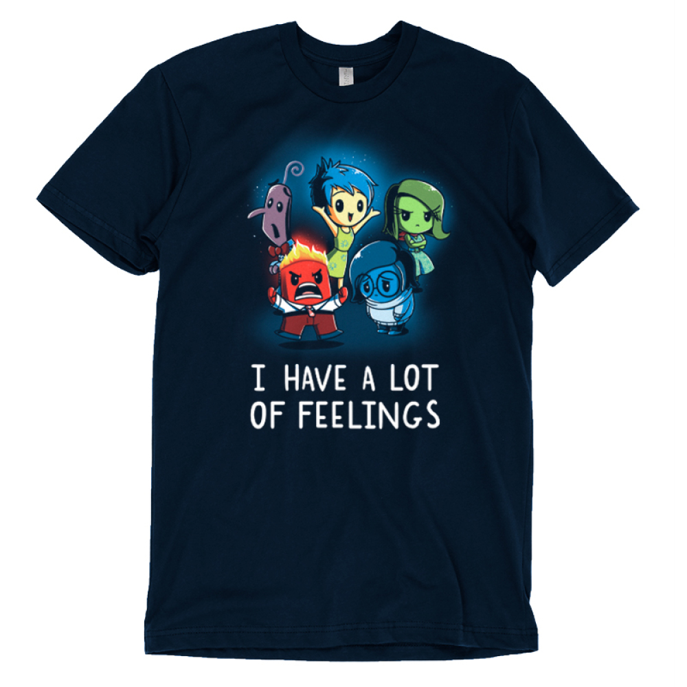 I Have a Lot of Feelings t-shirt officially licensed Disney Navy t-shirt featuring Fear, Joy, Disgust, Anger, and Sadness from Inside Out