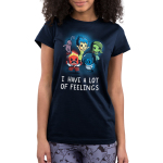 I Have a Lot of Feelings Junior's t-shirt Model officially licensed Disney Navy t-shirt featuring Fear, Joy, Disgust, Anger, and Sadness from Inside Out