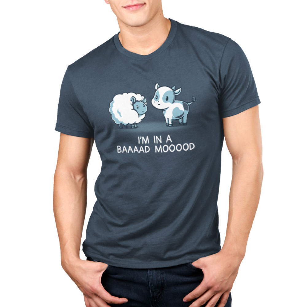 Baaaad Mooood Men's t-shirt model TeeTurtle denim blue t-shirt featuring an angry looking sheep staring at a cow