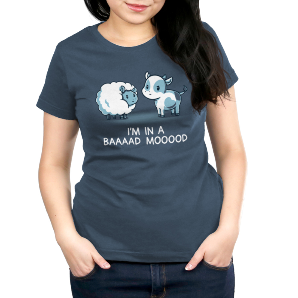 Baaaad Mooood Women's t-shirt model TeeTurtle denim blue t-shirt featuring an angry looking sheep staring at a cow