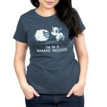 Baaaad Mooood Women's t-shirt model TeeTurtle denim blue t-shirt featuring an angry looking sheep staring at a cow