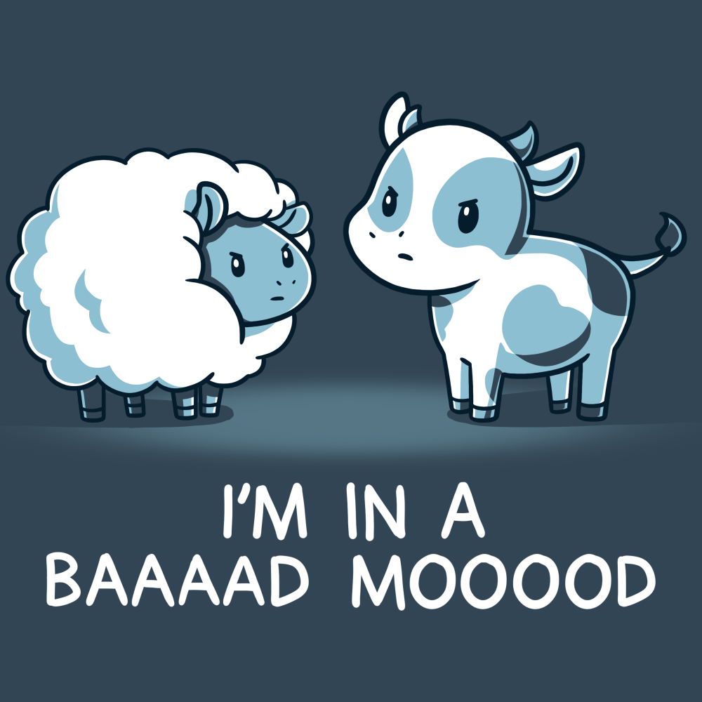 Baaaad Mooood t-shirt TeeTurtle denim blue t-shirt featuring an angry looking sheep staring at a cow