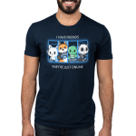 Online Friends Men's t-shirt model TeeTurtle navy t-shirt featuring a cat, fox, turtle, and panda all with their gaming controllers in a grid next to each other