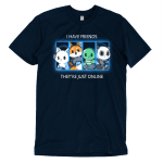 Online Friends t-shirt TeeTurtle navy t-shirt featuring a cat, fox, turtle, and panda all with their gaming controllers in a grid next to each other