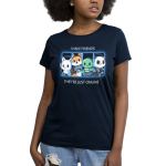 Online Friends Women's t-shirt model TeeTurtle navy t-shirt featuring a cat, fox, turtle, and panda all with their gaming controllers in a grid next to each other